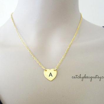 Initial Heart necklace-gold,mom sisters necklace,simple petite necklace,everyday wear,birthday mothers day gifts,Best friend,love gift
