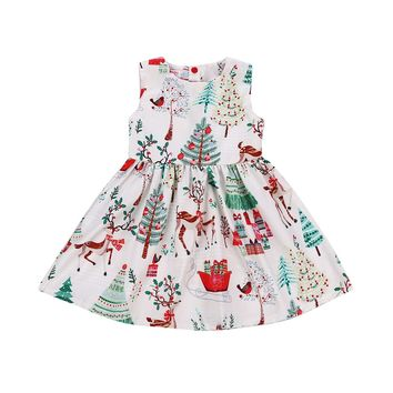 Toddler Kid Baby Girl Christmas Cartoon Deer Sleeveless Party Dress Clothes 2-6Y christmas Xmas baby Girl Cartoon Dress