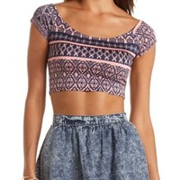 Tribal Print Off-the-Shoulder Crop Top