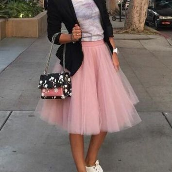 New Pink Grenadine Pleated High Waisted Tulle Tutu Homecoming Party Cute Elegant Midi Skirt