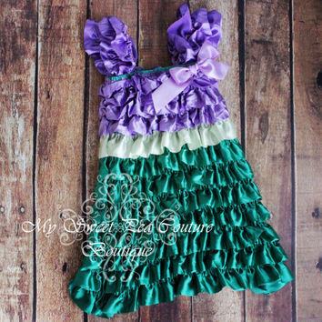 Ariel Satin Ruffle Dress- Little Mermaid Costume- Disneyland Dress- Disneyland Outfit- Girls Dress - Disney Princess Dress- Birthday Outfit