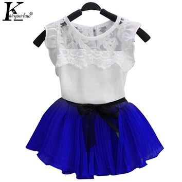 KEAIYOUHUO Girls Clothes Sets Costume For Kids T-shirt+Tutu Skirt Sport Suit Children Clothing Christmas Outfit 3 4 5 6 7 8 Year