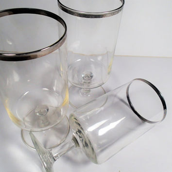 Silver Rim Mid Century Bar Ware Stem Ware Water Glass
