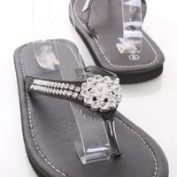 Black Faux Leather Floral Rhinestone Thong Strap Slip On Foam Sandals