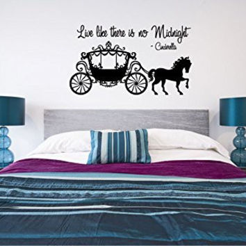 Live Like There is No Midnight Cinderella Vinyl Wall Words Decal Sticker Graphic