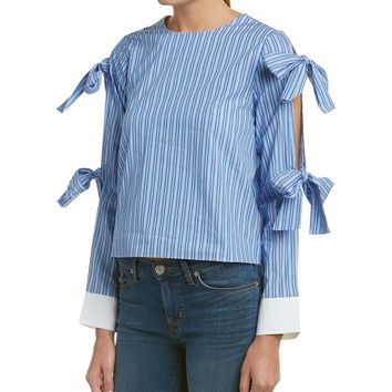 English Factory English Factory Striped Tie Sleeve Top | Bluefly.Com