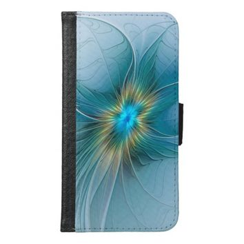 The little Beauty, Abstract Fractal Art with blue Samsung Galaxy S6 Wallet Case