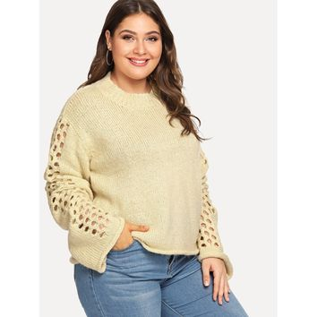 Plus Cut Out Sleeve Round Neck Jumper