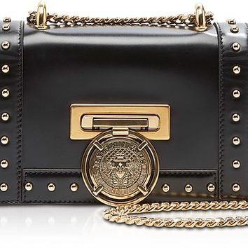 Balmain Glossy Black Leather Baby BBox Flap Shoulder Bag