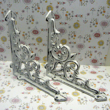 Wall Bracket Cast Iron Shelf Ornate FDL Brace Shabby Chic Classic White Decorative Distressed Cottage Chic 1 Pair (2 individual brackets)