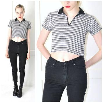 CLUB KID crop top vintage 80s textured RETRO zip up polo shirt small