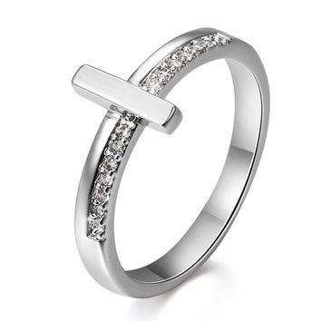 Sideways Cross Silver Color Rings Trendy Jewelry Simple Temperament Crystal Engagement/Wedding Rings