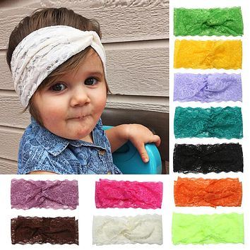 Kids Baby Girls Beautiful Lace Headband Turban Stretchable Knot Hairband for Hair Dressing