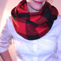 Buffalo Plaid Infinity Scarf Red Black Thick Warm Fleece Logger Check Winter NEW