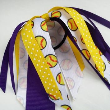 Purple and yellow softball hair streamer, team hair bows, polka dot ponytail ribbon, softball ribbon hair tie, team sports, softball bow