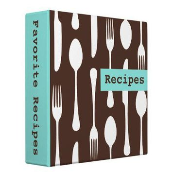 Retro aqua white and brown kitchen recipe binder from Zazzle.com