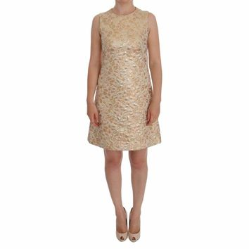 Dolce & Gabbana Gold Floral Jacquard Shift Dress