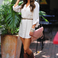 Belted In Envy Tunic: Ivory          | Hope's