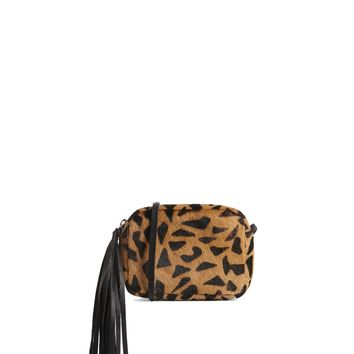 ASOS Faux Pony and Leather Cross Body Bag in Leopard