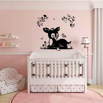 Deer Baby Silhouette Vinyl Wall Decal Sticker Graphic