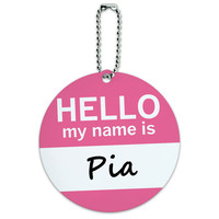 Pia Hello My Name Is Round ID Card Luggage Tag