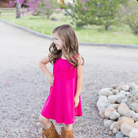 Girls Fringed Tank Tunic Dress- Fuchsia