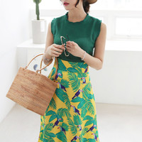 Tropical Bird Print Ribbon Back Midaxi Skirt