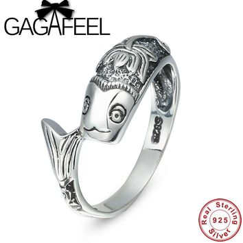 Gagafeel New Lotus Goldfish Shape Ring for Women 925 Sterling Silver Ring Thai Silver Fine Jewelry R0039