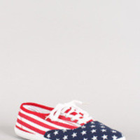 Women's American Flag Lace Up Canvas Sneaker