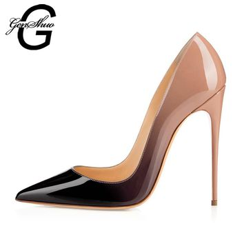 GENSHUO Women High Heels Ombre 10CM Apricot Red Black Pointed Toe Thin Heel Women Pumps Stilettos Mix Color Party Wedding Shoes