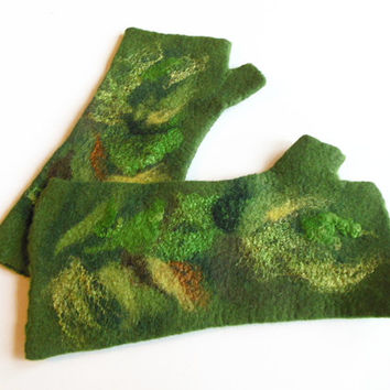 Felted mittens, Hand felted fingerless mittens, felted long gloves, felted wirst warmers, green brown gloves, mittens