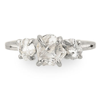 Clear Uncut Diamond Three Stone Engagement Ring, 1.89 Carats