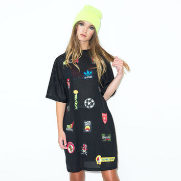 Oversized Patch Mesh T-Shirt Dress