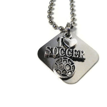Soccer Necklace Futbol Football I Love Sports Charm Custom Stamped Engraved Womens Men Unisex Silver Metal Athlete Player Birthday Gift SALE