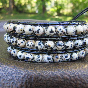 Black and White Dalmatian Jasper Triple Bead Leather Wrap Bracelet with Black Leather