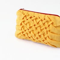 Yellow Makeup Bag, Linen Pouch, Smocked Cosmetic Bag, Toiletry Bag, Large Zipper Case, Beauty Bag, Cosmetic Purse, Smocked Bag