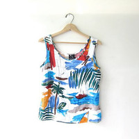 90s sailboat tank top / camisole / sailboats / resort wear