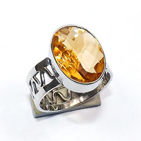 Citrine Ring - Sterling Silver Ring -  Fine Silver Ring - Solid Silver Ring - Filigree Ring - Handmade Silver Ring - Bezel Setting Ring