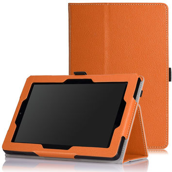 MoKo Case for Fire HD 7 2014 - Slim Folding Cover with Auto Wake / Sleep for Amazon Kindle Fire HD 7 Inch 4th Generation Tablet (Not Fits HD 7 2015) ORANGE