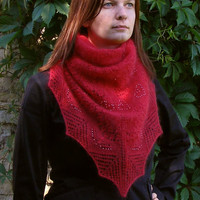 Red knit silk-mohair shawl. Beaded shawlette. Triangular lace scarf