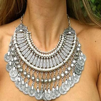 2015 New Tribal statement necklaces Fashion Coin Jewelry Carving Flower Silver Coin Necklace Tassels Choker Necklace For Women