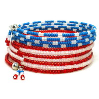Patriotic Red White Blue Beaded Multi-Wrap BOHO Cuff Bracelet