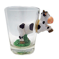 Collectible Shot Glass: 3 D Black and White Cow