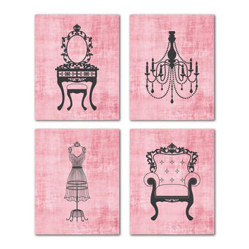 Teen Tween Wall Art - Four 8x10 prints - Chandelier, Mannequin, French Chair, Vanity Silhouettes - Wall Art Quad - Radiant Orchid distressed