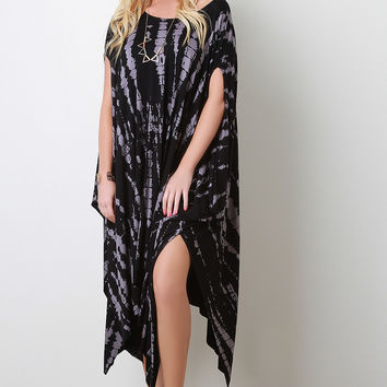 Streak Print Poncho Maxi Dress