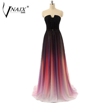 Evening Dresses Long Vnaix E1088 Real Photo Strapless with Pleat Long Chiffon Gradient Ombre vestido de festa longo Party Dress