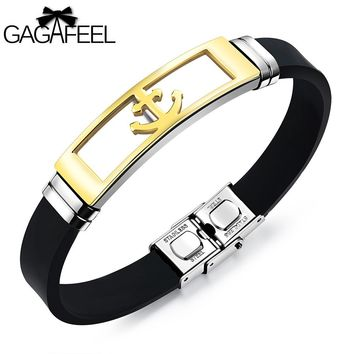 GAGAFEEL Stainless Steel Anchor Bracelet Punk Rock Men Jewelry Silicone Wrap Bangles Retro Design Adjustable Chain Wristband