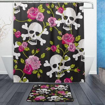 Day of the Dead Rose Sugar Skull Waterproof Polyester Fabric Shower Curtain with Hooks