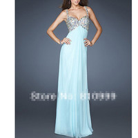 Spaghetti Strap Prom Dresses A-Line Chiffon Blue Prom Dresses, gorgeous beaded prom dress party dress graduation dress
