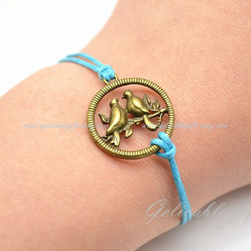 Love kissing birds leather bracelet, light blue wax cord bracelet, wedding gift BKB02